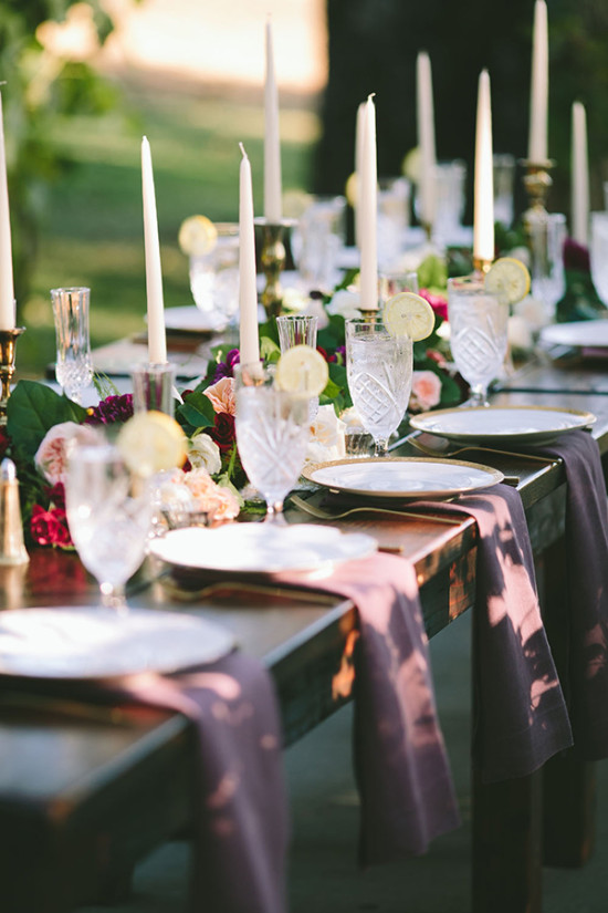 fancy purple reception decor