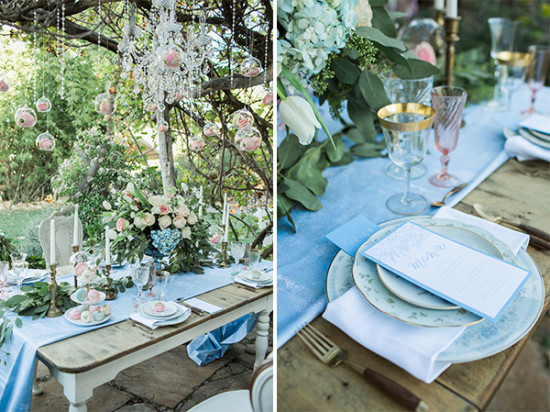 light blue and pink table decor