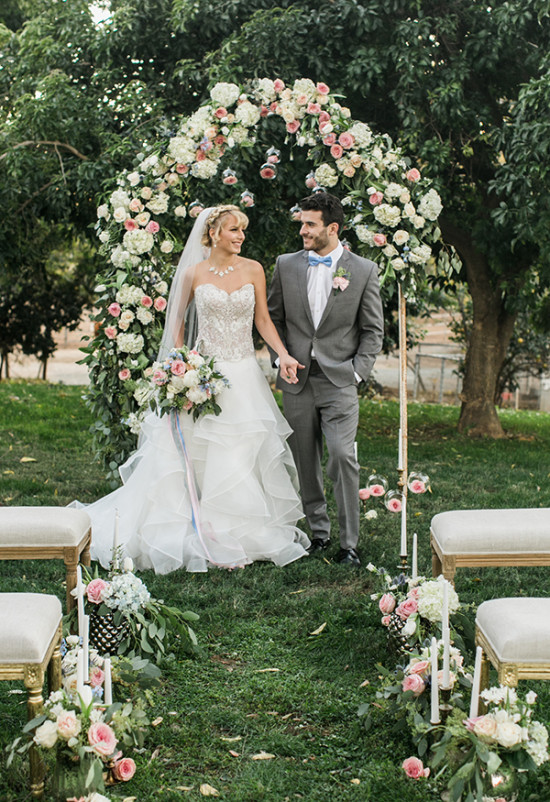 rose filled wedding ceremony
