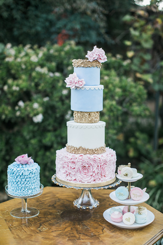 blue pink and gold wedding cake