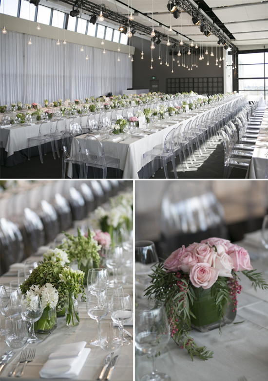 indoor wedding ceremony with long tables