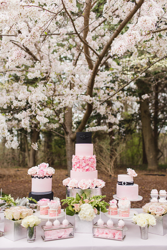 pink black and silver cake table