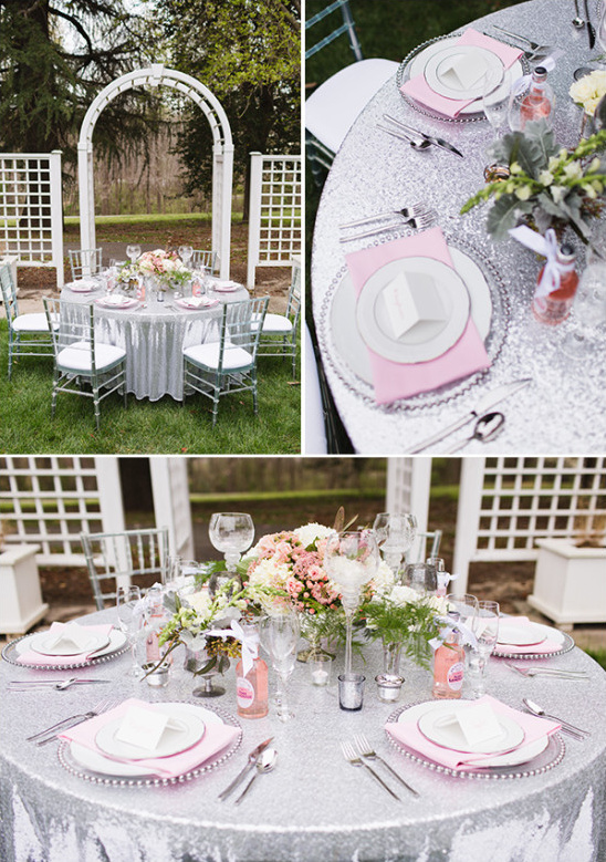 pink and platinum table decor