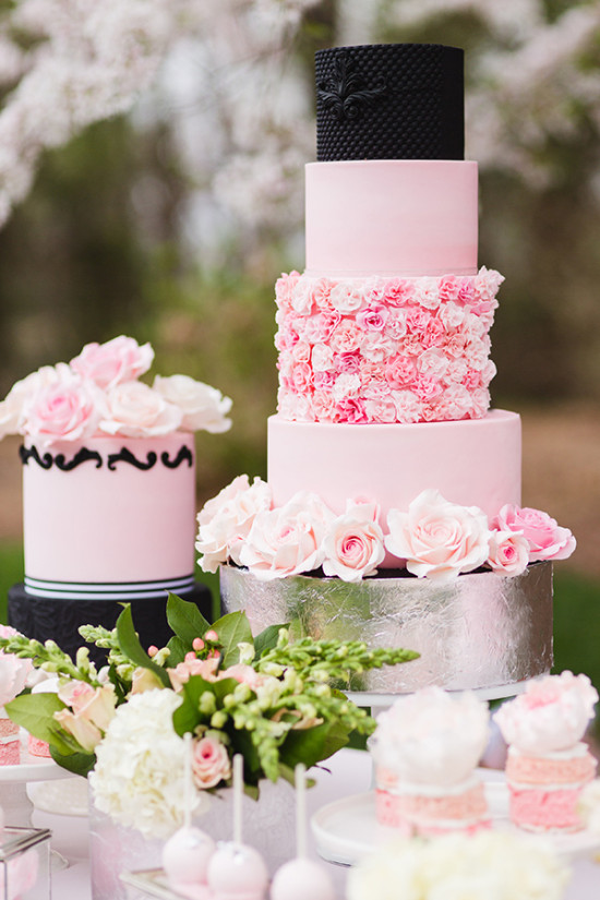 pink rose cake with black accents