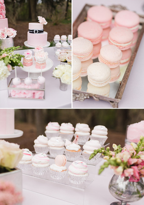 soft pink and peach cake table