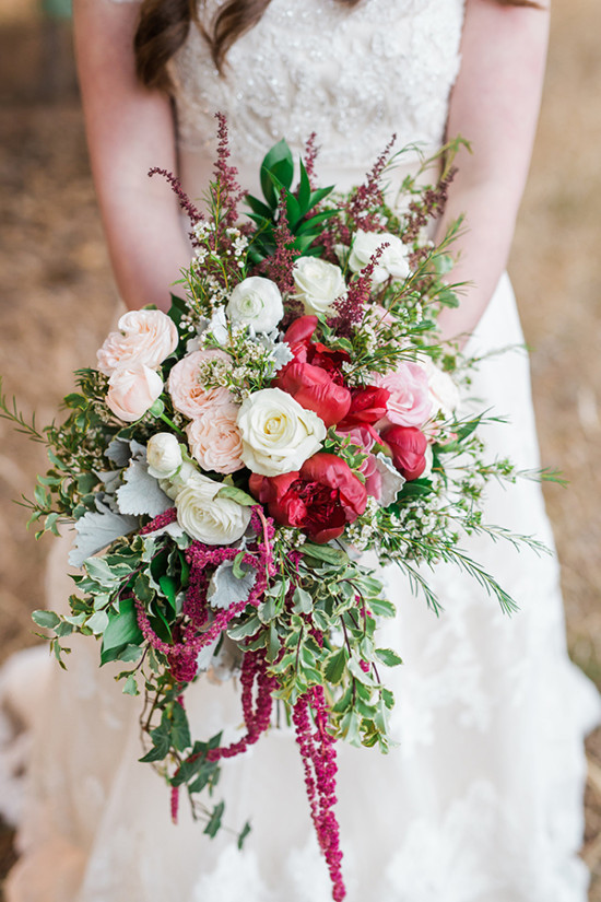 Pink and red wedding bouqet