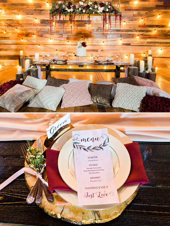 Rustic sweetheart table details