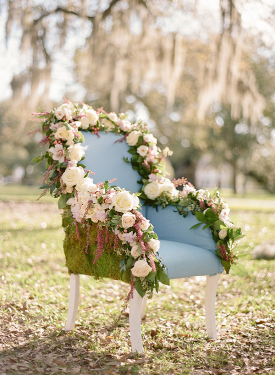 Chair covered in flowers