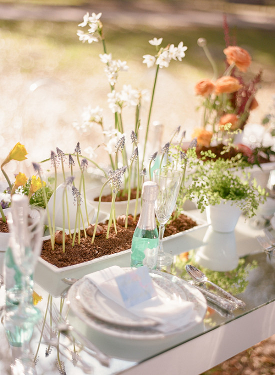 Spring flowers centerpiece