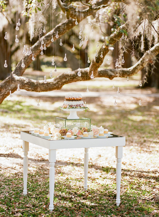 Bundt cake table decor for bridal shower