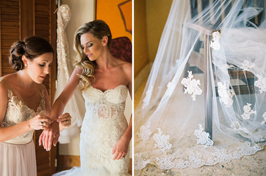 getting ready lace accented wedding veil