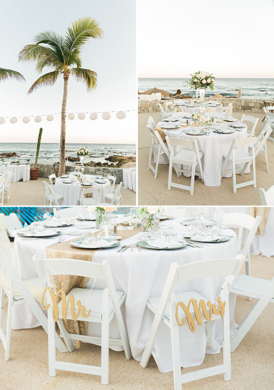 white and teal beach wedding reception