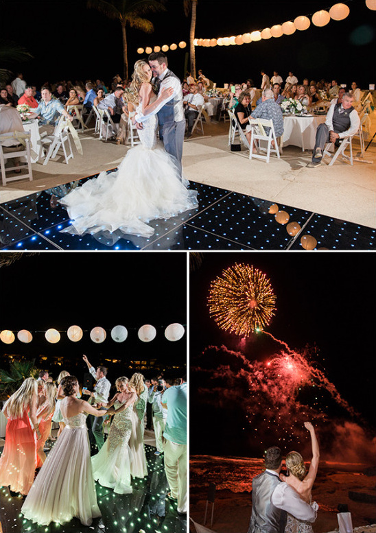 LED dance floor and reception fireworks