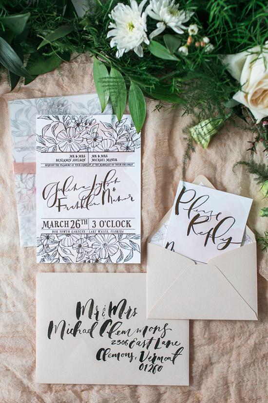 calligraphy garden wedding stationery