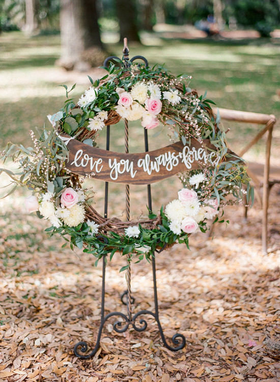 wreath wedding sign