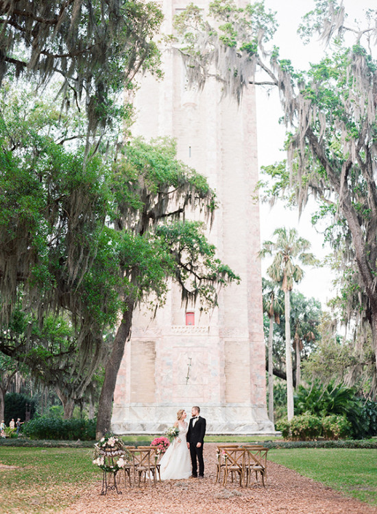 married under the tower of Bok Tower garden