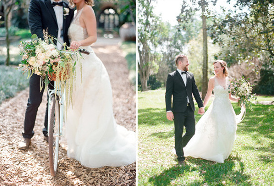 formal newlyweds and wedding bike