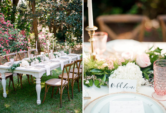 elegant wedding reception decor in garden