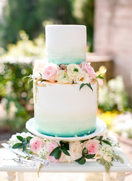 teal and gold watercolor cake