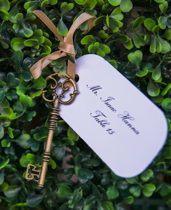 Seating card and vintage key