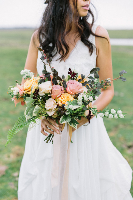 Blush and yellow wedding bouquet