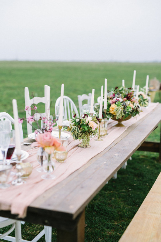Rustic chic reception table decor