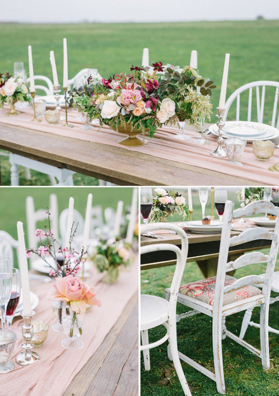 Rustic table decor and mismatched chairs