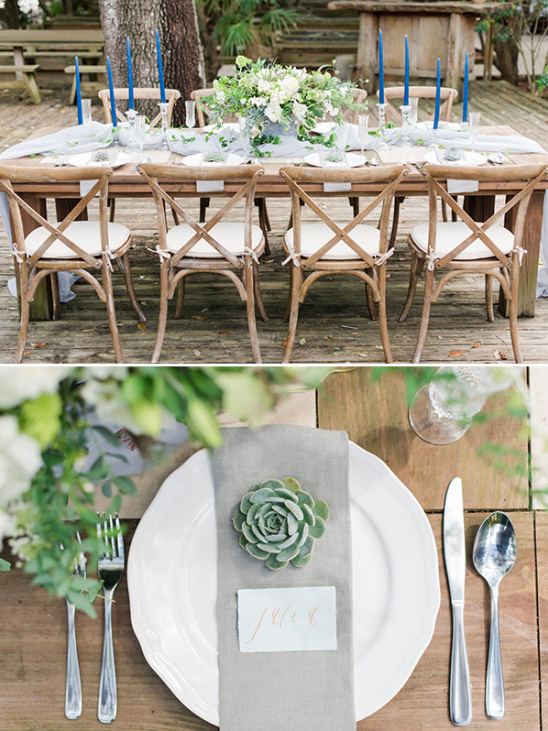 blue and green reception decor