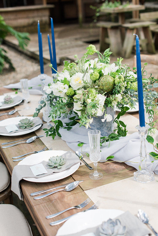 blue and green organic table decor