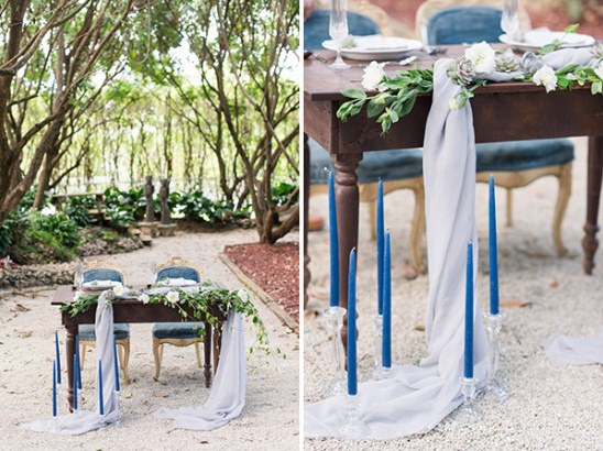 romantic blue and green sweetheart table idea