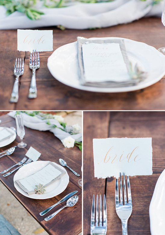 elegant table setting for sweetheart table