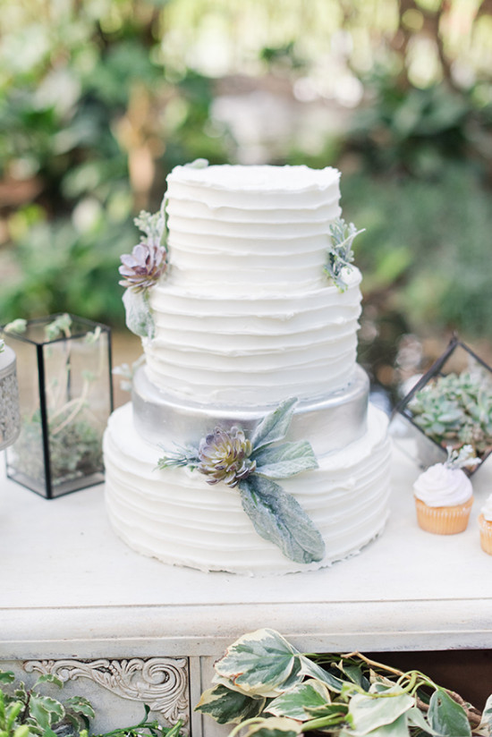 classicly frosted white and silver wedding cake