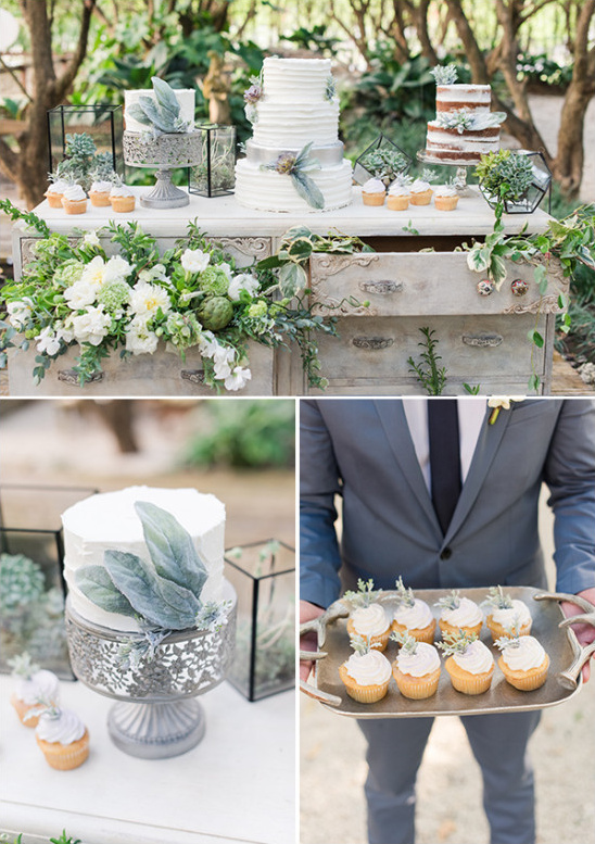 organicly styled cake table and desserts