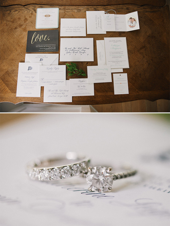 wedding stationery and rings