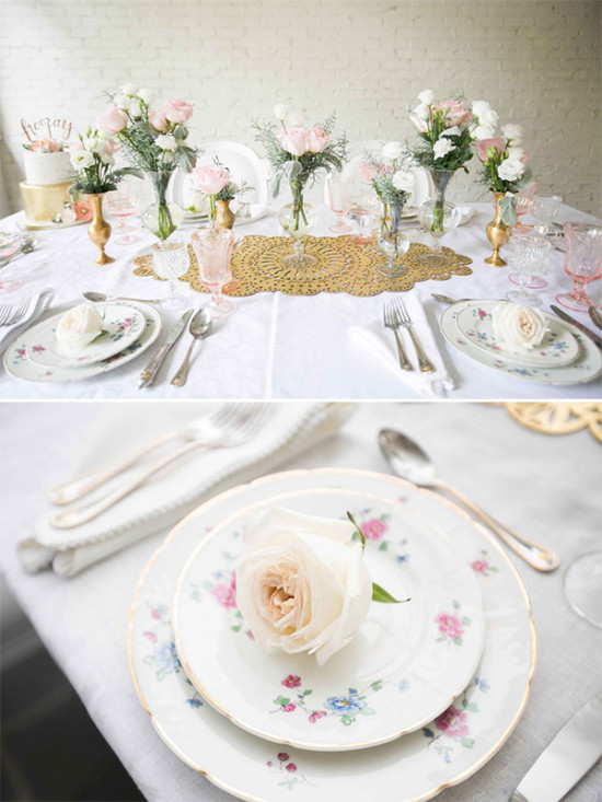 pink white and gold table decor