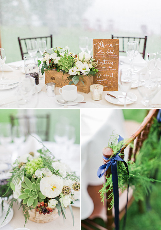 refreshing white and green wedding reception