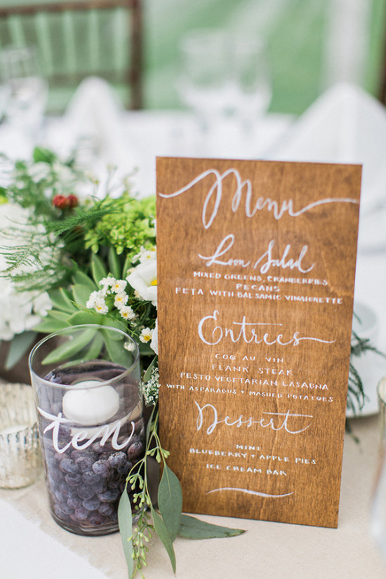 wood script wedding menu