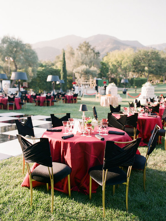Vintage black red and gold outdoor party