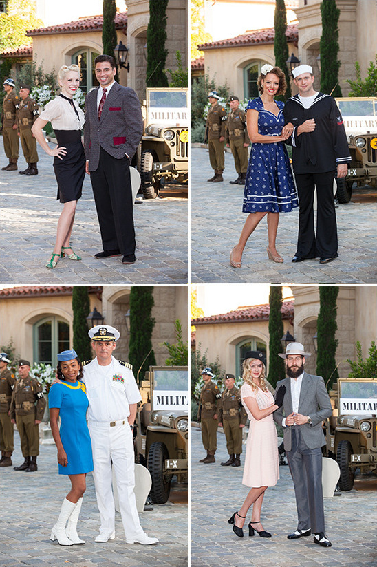 guests dressed according to the 1940s theme