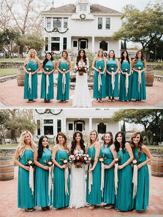 teal ankle length bridesmaid dresses