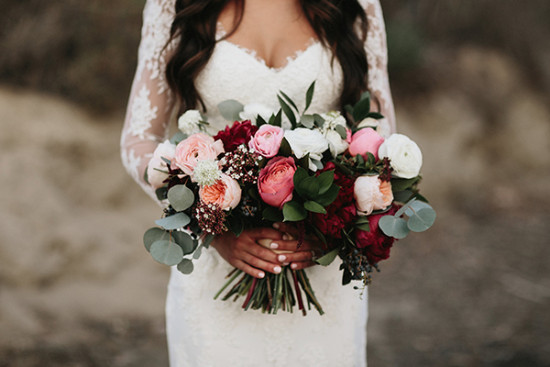 wedding bouquet in pink and red