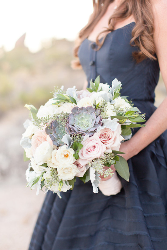 pink white and succulent bouquet