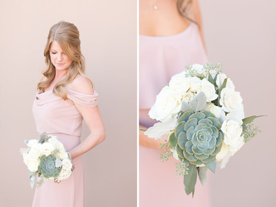 dusty pink bridesmaid dress and white and green bouquet