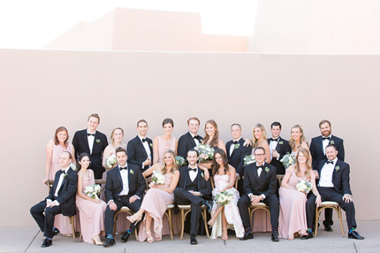 pink black white and navy wedding party