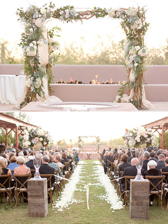 rustic flower wedding arch ceremony backdrop