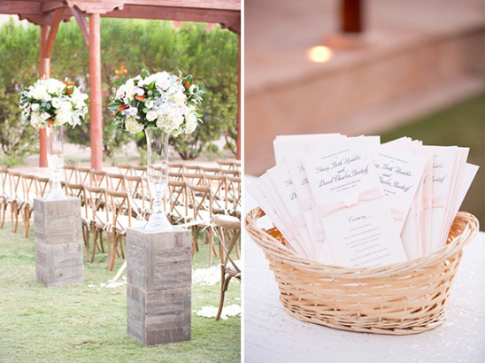 wedding programs and flower decor