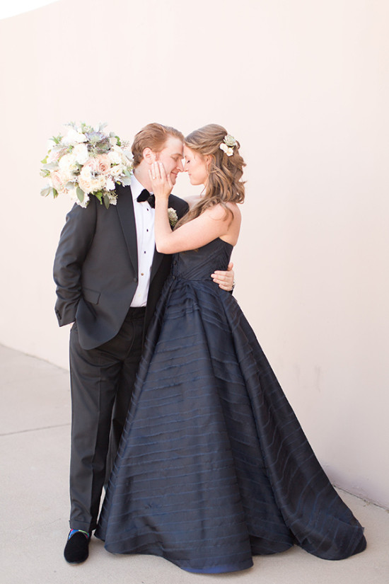 formal wedding couple in black white and navy