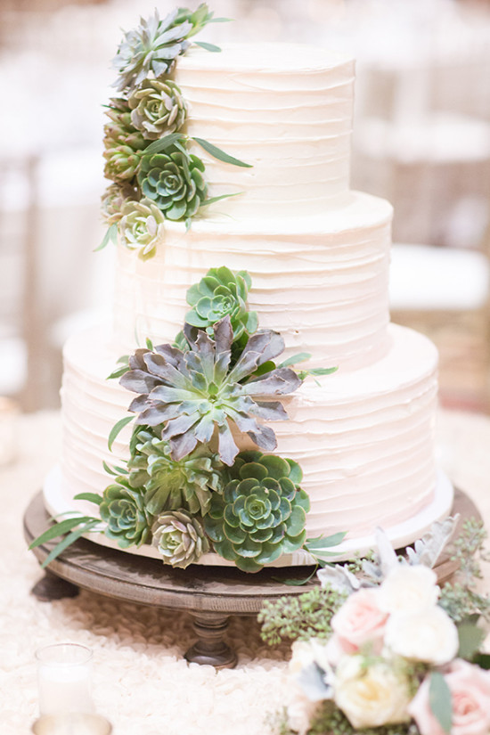 succulent accented wedding cake