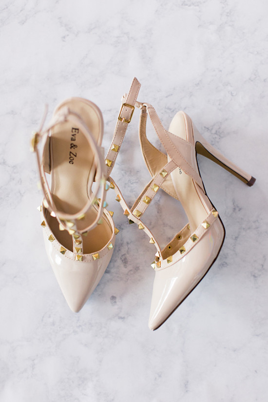 Blush gold studded strappy heels