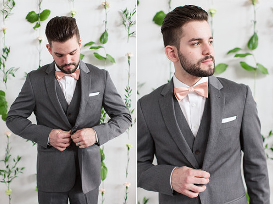 Groom in grey with pink bow tie